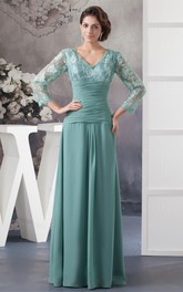 Chiffon Illusion Neck Appliqued V-Neckline Floor-Length Dress