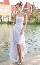 Strapless Lace Appliqued High-Low Organza Gown