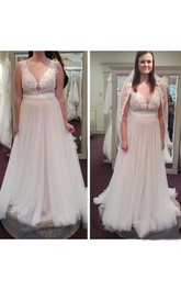 Jewel Lace Tulle  Sleeveless Wedding Dress