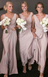 Straps V-neck Jersey Sleeveless Floor-length A Line Bridesmaid Dress with Pick Up and Ruching