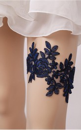 Blue Lace Princess Style Elastic Garter Within 16-23inch