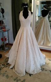 Pleated Halter Bridal Sleeveless Elegant A-Line Lace Dress