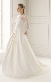Illusion-Neck Back Sation Gown With Lacy Bodice