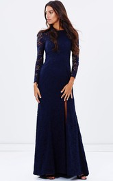 Sheath Bateau  Lace Long Sleeve With Split Front