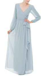 Chiffon Bow V-Neckline Long-Sleeve Long Dress