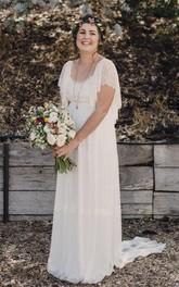 Scoop Chiffon Lace Bat Short Sleeve Wedding Gown