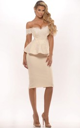 Off-the-shoulder Pencil Knee-length Dress With Lace And Peplum