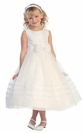 Tiered Organza Pleated Tea-Length Lace Flower Girl Dress