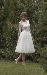Wedding Lace Top 3-4-Length Vintage-Inspired Dress