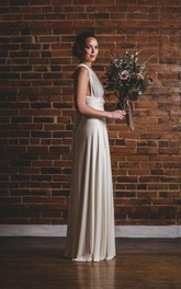 Flowy Octopus Wrap Floor-Length Florence Wedding Gown