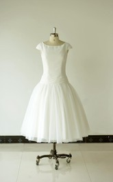 3-4-Length Chiffon Lace Ball-Gown Princess Tulle Cap-Sleeve Dress