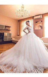 V-neck Lace Tulle Illusion Long Sleeve Wedding Gown