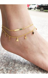 Simple And Exquisite Double Metal Tassel Anklet Bracelet