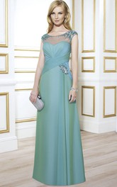 Ruched Jewel Floor-Length Cap-Sleeve Formal Dress