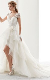 exquisite Bateau Short Sleeve High-low Wedding Dress With Tiers And Draping