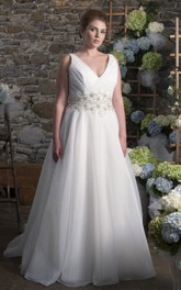 Plunged Sleeveless A-line Wedding Dress With Ruching And Jeweled Waist
