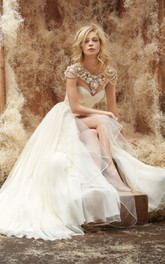 Floor-Length Cascading-Ruffle Sweetheart-Neck Captivating Gown