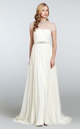 Illusion Neck Beaded Belt Draped-Bodice Graceful Gown