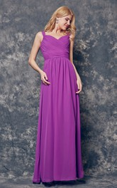 Chiffon Spaghetti-Strap A-Line Ruched Dress