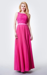 Chic Jewel Neck Long Chiffon Dress With Lace Bodice