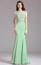 Short-Sleeve Keyhole Brush Mermaid Rhinestone Gown