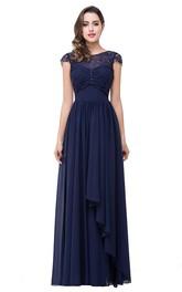 Lace Bowknot Cap Sleeve Prom Chiffon Elegant A-Line Dress