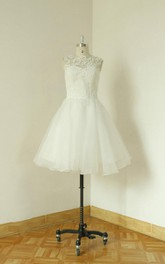 A-Line Wedding Sleeveless Jewel Organza Dress