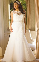 Scoop-neck Sleeveless Mermaid Lace plus size wedding dress With Embellished Waist