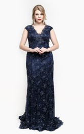 Lace Rhinestone Appliques Cap-Sleeve V-Neckline Dress