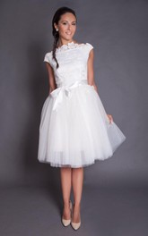 A-Line Satin Sash Wedding Knee-Length Short Tulle Dress