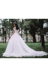 Off-the-shoulder A-line Tulle Ball Gown With Appliques And Chapel Train