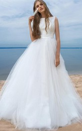 Bateau Satin Tulle Brush Train Corset Back Ball Gown Wedding Dress with Ribbon
