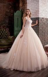 Bateau-Neck Appliqued Tulle Ball-Gown Princess Deep-V-Back Dress
