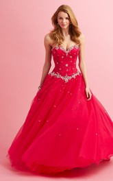 Sweetheart A-line Tulle Ball Gown Prom Dress With Beading And Applique