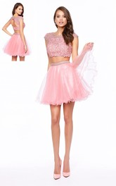 A-Line Keyhole Jeweled Appliqued Short Mini Cap-Sleeve Scoop-Neck Tulle Dress