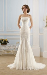 Sleeveless Appliqued Tulle Rhinestone Long Mermaid Lace Gown