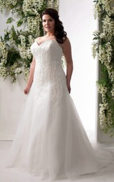 Sweetheart A-line Tulle Beaded plus size wedding dress With Corset Back