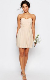 Short Ruched Sweetheart Sleeveless Chiffon Bridesmaid Dress
