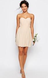 Short Ruched Sweetheart Sleeveless Chiffon Bridesmaid Dress