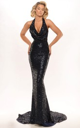 Haltered Backless Sequined fishtail Prom Dress With Beading And Sweep Train
