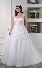 Queen Anne Tulle A-line Ball Gown With Appliques And Court Train
