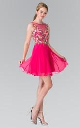 A-Line Appliqued Mini Scoop-Neck Chiffon Sleeveless Deep-V-Back Dress