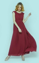 Scoop-neck Chiffon Ruched Ankle-length Dress With bow