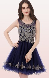 Scoop Tulle Sleeveless Short Zipper Illusion Homecoming Dress with Beading