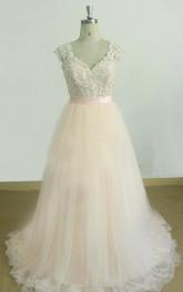 Tulle Keyhole Back Satin V-Neckline A-Line Lace Dress