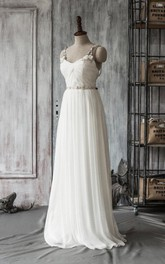 Chiffon Crystal Jeweled Satin Ribbon Floor-Length Spaghetti-Strap Dress