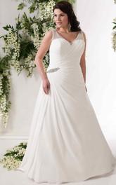 V-neck Sleeveless Beaded Chiffon plus size wedding dress With Side Draping