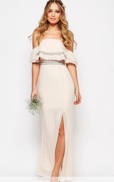 Off-the-shoulder Chiffon Split Front Dress With Beading
