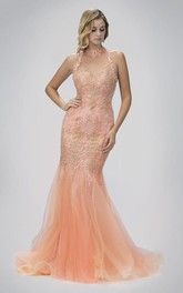 Trumpet Appliqued High-Neck Sleeveless Illusion Tulle Dress