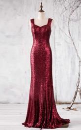 Sleeveless Sequined Sheath Floor-length Dress With Pleats